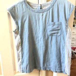 LOU & GREY CROPPED SHORT SLEEVE COTTON TOP